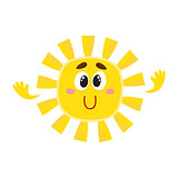 Smiling sun with big eyes, isolated cartoon vector illustration