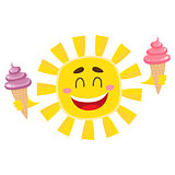 Smiling, happy sun holding ice cream, isolated cartoon vector illustration