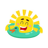 Smiling, cheerful sun wearing sunglasses, isolated cartoon vector illustration
