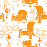 Vector seamless pattern with  lamp and chair on white background