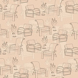 Vector seamless pattern with  lamp and chair on beige background