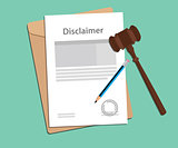 disclaimer agreement stamped with folder document, blue pencil and judge hammer