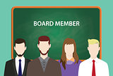 board member white text illustration with four people standing in front of green chalk board