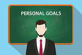 personal goals white text illustration with a beard man wearing black suit standing in front of green chalk board