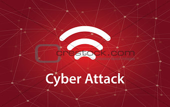 cyber attacks white text illustration with constellation map on red background and signal bar icon