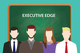 executive edge white text illustration with four people standing in front of green chalkboard