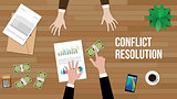 conflict resolution concept illustration with two people discuss and money, paperworks, folder document and vase on top of table