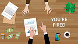 you're fired illustration with man pointing to another man, and paperworks, money and folder document on top of table