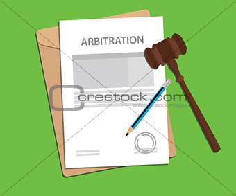 arbitration agreement letter stamped with folder document, blue pencil and judge hammer