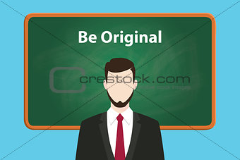 be original white text illustration on green chalk board with a beard man wearing black suit standing in front of the board