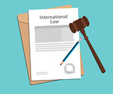 international law agreement stamped with folder document, blue pencil and judge hammer