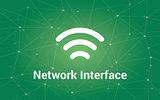 network interface white text illustration with green constellation as background and signal bar icon