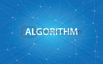 algorithm white text illustration with blue constellation as background