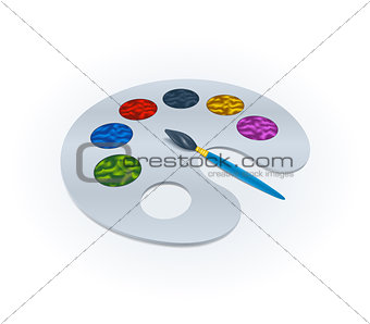 Paint brush with palette. Realistic design. Vector Illustration.