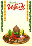 Happy Ugadi lettering text. Set Holiday accessories. Coconut, sugar, salt, pepper, banana, mango