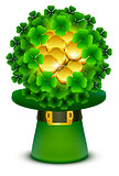 Green clover leaves and gold coins ball in top cylinder hat