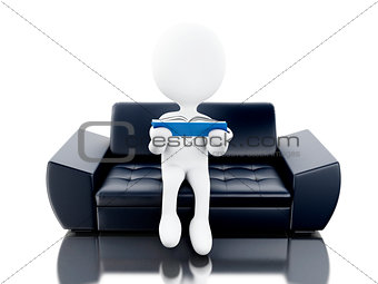 3d White people reading book on couch.