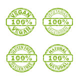 NATURAL, VEGAN, GLUTEN FREE, VEGETARIAN stamp signs