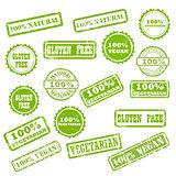 NATURAL, VEGAN, GLUTEN FREE stamp signs