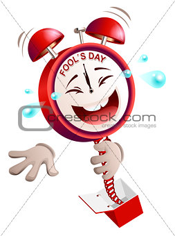 Fools day time. Clock hours service laughs surprise on spring from box