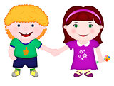 Boy and girl standing together and holding hands