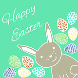 Happy Easter Card with Rabbit and Eggs