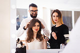 beauty salon, makeup and styling in the salon, hairdressers and make-up artist,