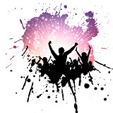Grunge party crowd background