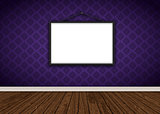 Interior with purple damask wallpaper with blank picture frame