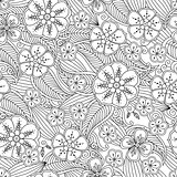 Abstract hand drawn outline seamless pattern with flowers and leafs isolated on white background.