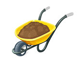 Wheelbarrow with ground. Gardening tools.