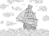 Contour image of sailing ship on the wave in zentangle inspired doodle style. Horizontal composition.