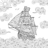 Ornate image of sailing ship on the wave in zentangle inspired doodle style. Square composition.