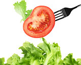 Background of mixed salad with a fork