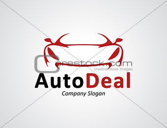 Auto car dealership logo design with concept sports vehicle silh