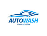 Automotive carwash logo design with abstract sports vehicle silh