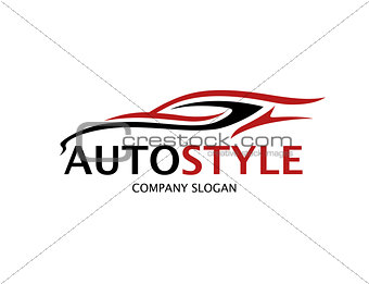 Automotive car logo design with abstract sports vehicle silhouet