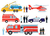 Fire brigade, police and rescue vehicle