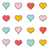 Simple vector heart outline icons