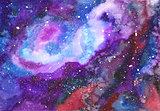 Space abstract hand painted watercolor background.