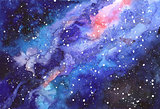 Space abstract hand painted watercolor background. Texture of night sky. Milky way.