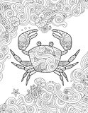 Coloring page. Ornate crab and sea waves. Vertical composition.