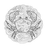 Coloring page. Ornate crab in circle, mandala isolated on white background.