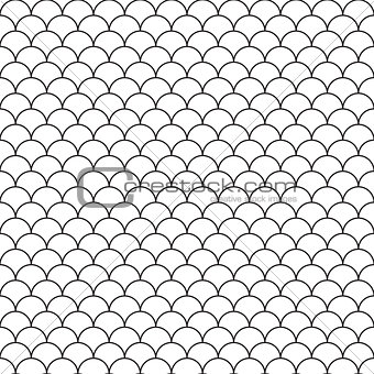 Abstract hand drawn outline wave water seamless pattern asian style.