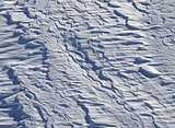 Off-piste slope after snowfall in ski resort