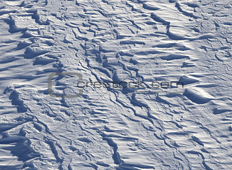 Off-piste slope after snowfall in ski resort