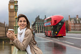 Woman Drinking Coffee on Westminster Bridge, Big Ben, London, En