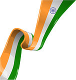 india ribbon flag on white background