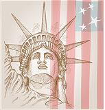 statue of liberty face with flag