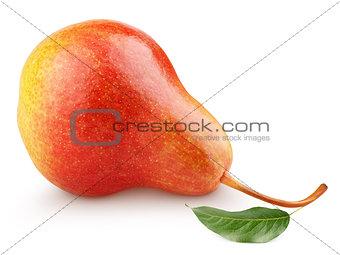 Single sweet red pear fruit